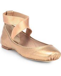 Chloé Metallic Leather Ballet Flats - Lyst