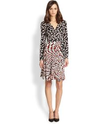 Diane Von Furstenberg  Mixed print Silk Jersey Wrap Dress - Lyst