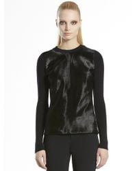 Gucci Merino Shiny Calf Hair Sweater - Lyst