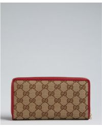 Gucci New Raspberry and Brown Gg Canvas Heart Zip Continental Wallet - Lyst