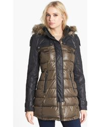 Circus By Sam Edelman Faux Leather Sleeve Quilted Coat - Lyst