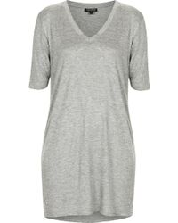 Topshop V-Neck Tunic Tee - Lyst