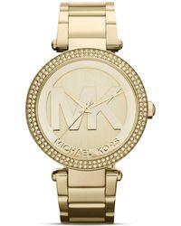 Michael Kors Mid-Size Parker Three-Hand Glitz Watch, 39Mm - Lyst