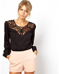 Hipanema - Asos Top with Macrame Insert Yoke and Balloon Sleeve - Lyst