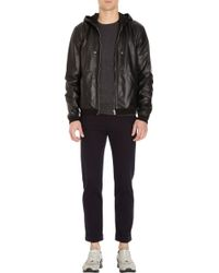 Basco Hooded Leather Jacket - Lyst