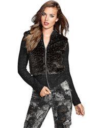 Guess - Faux Fur Zipup Sweater - Lyst