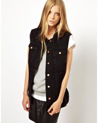 Monki Oversized Denim Sleeveless Jacket - Lyst