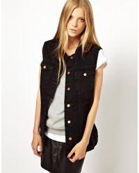 Monki Oversized Denim Sleeveless Jacket - Lyst