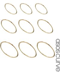Lipsy - Asos Curve Multipack Fine Every Finger Rings - Lyst