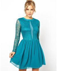 Asos Lace And Mesh Mix Skater Dress - Lyst
