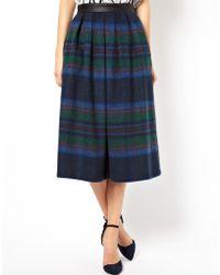 Asos Midi Skirt in Statement Check multicolor - Lyst