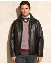 Calvin Klein Leather Jacket - Lyst