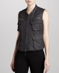 Donna Karan New York Leather Zipfront Vest - Lyst