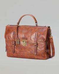 Frye Logan Buckle Leather Briefcase