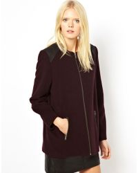 Helene Berman Oversized Short Coat with Faux Leather Shoulder Panels - Lyst