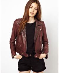 Hide - Christa Cropped Boxy Biker with Snakeskin Collar Detail - Lyst