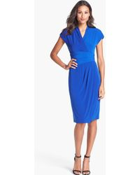 Ivy & Blu Ruched Faux Wrap Dress - Lyst