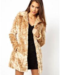 Lipsy - Belted Faux Fur Coat - Lyst
