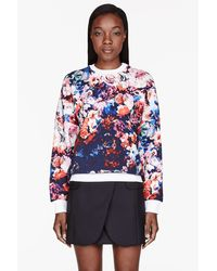 MSGM Blue and Pink Flower Sweatshirt - Lyst