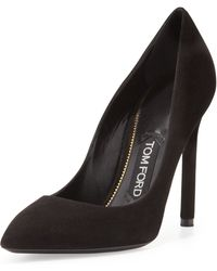 Tom Ford Suede Pointedtoe Signature Pump - Lyst
