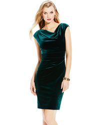Vince Camuto Fitted Velvet Dress - Lyst