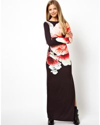 Asos Large Rose Print Maxi Dress - Lyst