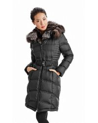 Dawn Levy Belted Coat with Fur Lining - Lyst
