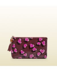 Gucci Heartbeat Print Leather Pouch - Lyst