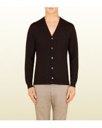 Gucci Dark Brown Wool Cardigan - Lyst