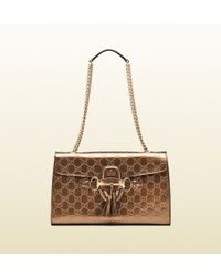 Gucci Emily Ssima Leather Chain Shoulder Bag - Lyst