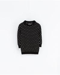 Zara Polka Dot Polo Shirt with Gathering - Lyst