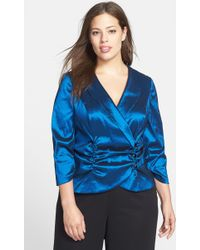 Alex Evenings Satin Faux Wrap Blouse - Lyst