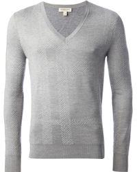 Burberry London Jacquard Check V-Neck Sweater - Lyst