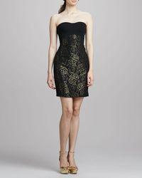 Diane Von Furstenberg Garland Strapless Metallic Dress Blackgold 12 - Lyst