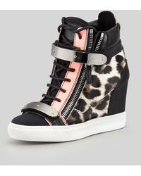 Giuseppe Zanotti Leopardprint Calf Hair Wedge Sneaker Blackpink - Lyst