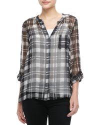 Joie Nepal Sheer Plaid Top - Lyst