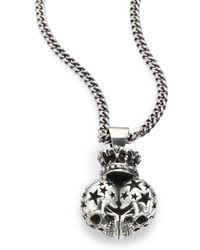King Baby Studio - Sterling Silver Crowned Double Skull Necklace - Lyst