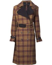 L.A.M.B. - Plaid Double Breasted Coat - Lyst