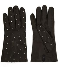 Portolano Black Studded Leather Gloves - Lyst