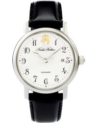 Brooks Brothers - Round Watch With Calfskin Band - Lyst d6ad489b0618