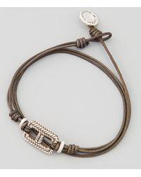 Catherine Zadeh - Braidrectangle Cord Bracelet Gray - Lyst