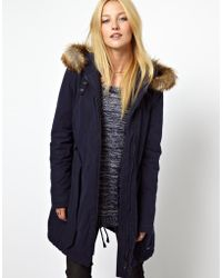 Orla Kiely - Wrangler Belted Parka with Faux Fur Trimmed Hood - Lyst