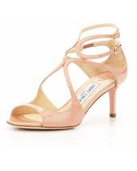 Jimmy Choo Lila Patent Crisscross Sandal Blush - Lyst