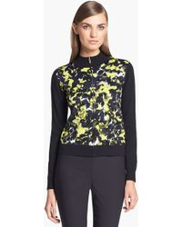 St. John Yellow Label Layered Leaves Jacquard Knit Bomber Jacket - Lyst