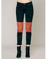 Free People  Patched Twill Herringbone Pant - Lyst