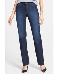 Nydj Marilyn Stitched Pocket Stretch Straight Leg Jeans - Lyst