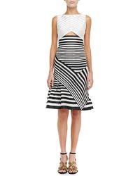 J. Mendel Paneled-stripe Bateau Dress - Lyst
