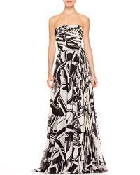 Ralph Lauren Maria Printed Bustier Gown - Lyst