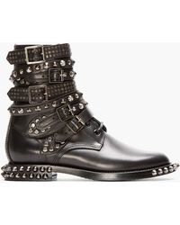 Saint Laurent Black Studded Leather Multi-strap Rangers Boots - Lyst