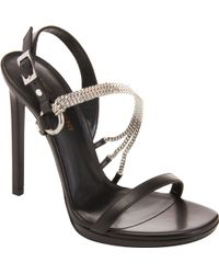 Saint Laurent Asymmetric Chain Strap Sandal - Lyst